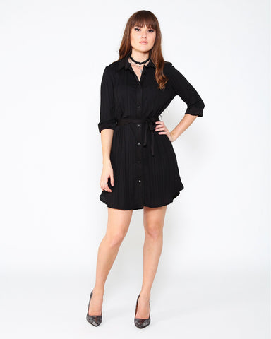 Pleated Belted Shirt Dress - Jezzelle