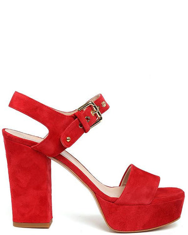 Block Heel Platform Red Suede Sandals