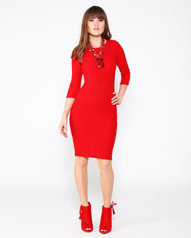 Red Knitted Midi Dress - jezzelle  - 2
