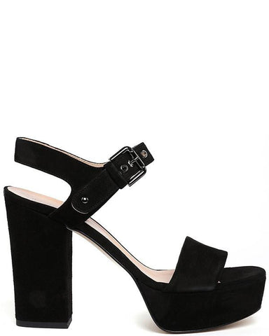 Block Heel Platform Black Suede Sandals