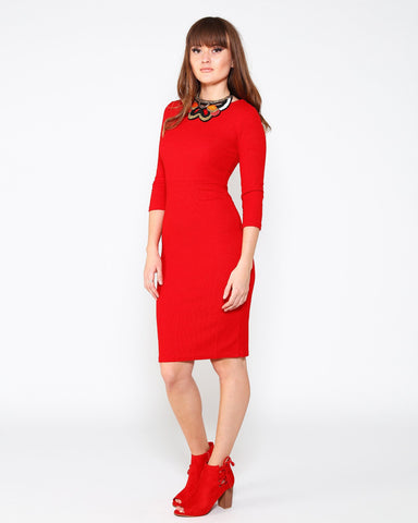Red Knitted Midi Dress - Jezzelle
