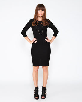 Black Knitted Midi Dress - jezzelle  - 2