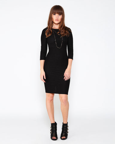 Black Knitted Midi Dress - Jezzelle