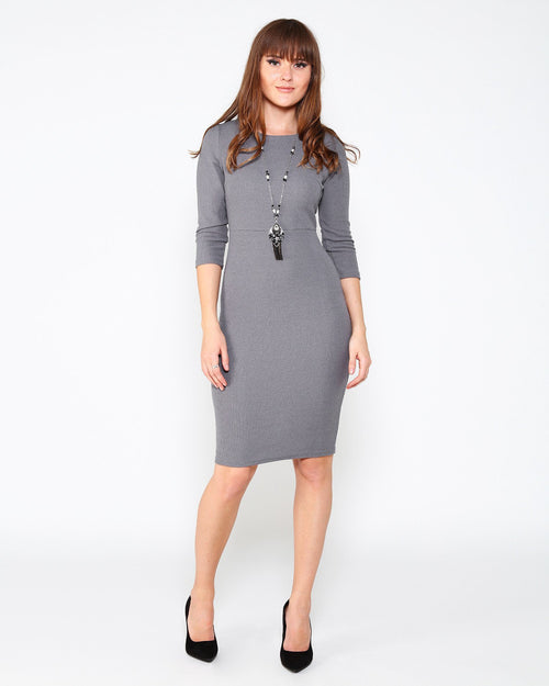 Grey Knitted Midi Dress - jezzelle  - 1