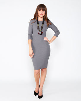 Grey Knitted Midi Dress - jezzelle  - 2