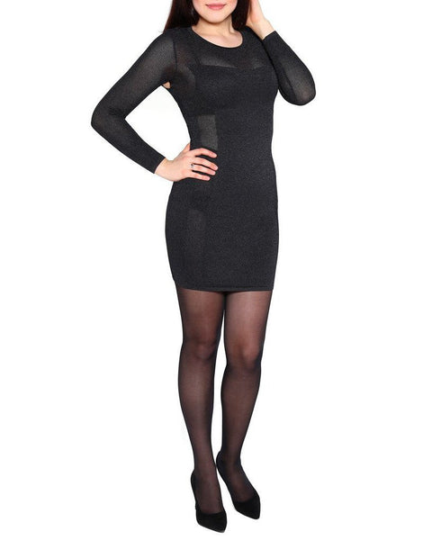 Sheer Sides Black Knitted Dress-Jezzelle