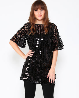 Black Sequins Sheer Top - Jezzelle