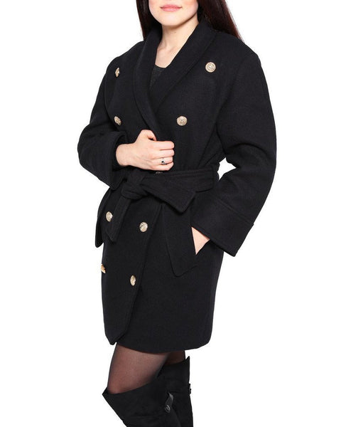 Double breasted belted wool coat-Jezzelle