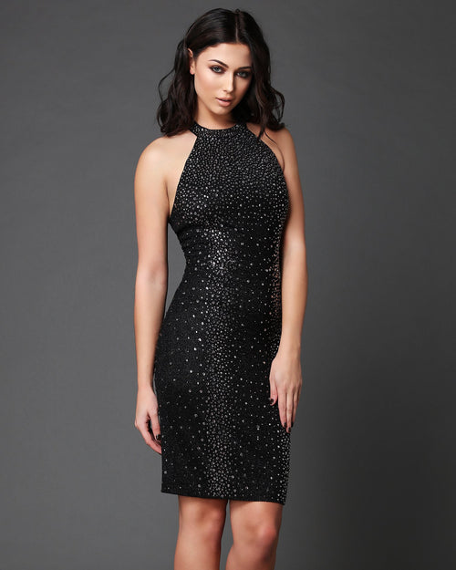 Swarovski Rhinestones Embellished Halter-neck Bodycon Dress - jezzelle  - 1