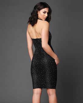 Swarovski Rhinestones Embellished Halter-neck Bodycon Dress - jezzelle  - 2