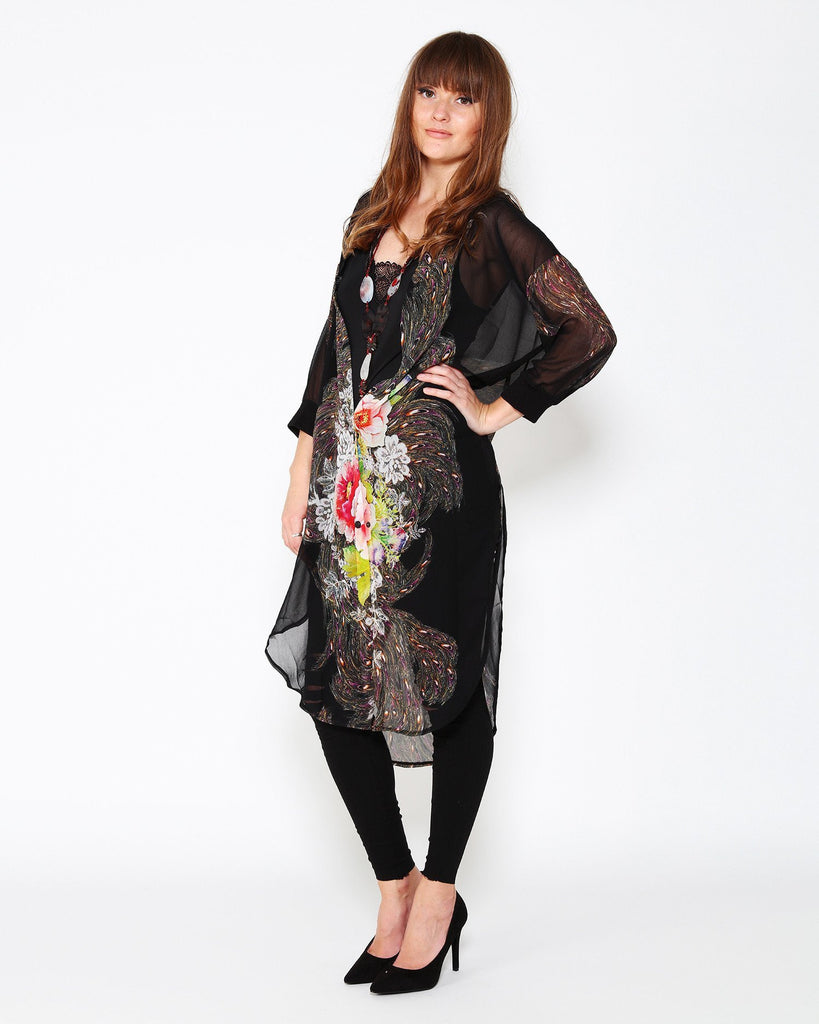 Peacock Featers & Floral Print Long Chiffon Shirt-Jezzelle