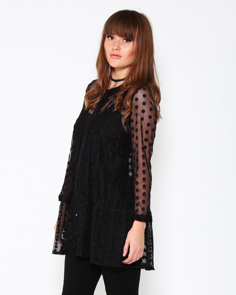 Sheer Polka Dot Swing Tunic Blouse-Jezzelle