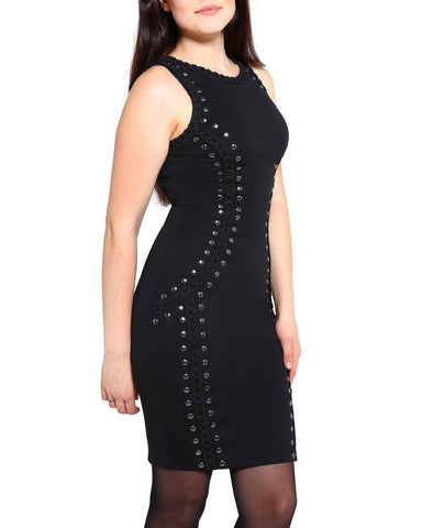 Studded Crochet Trim Illusion Dress-Jezzelle