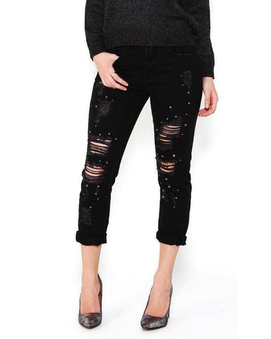 Ripped Beaded Hem Black Jeans-Jezzelle