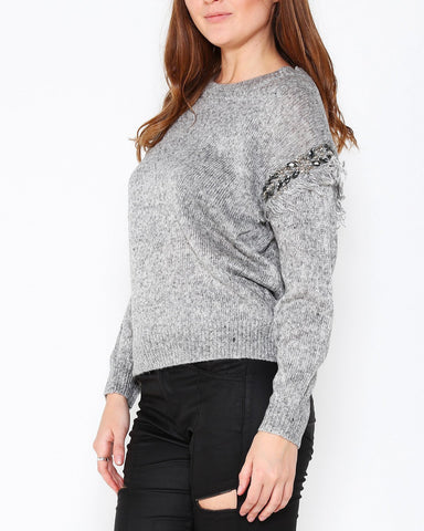 Embellished Sleeve Details Light Grey Pullover