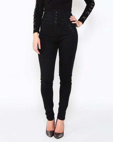 Super High Waisted Black Jeans-Jezzelle