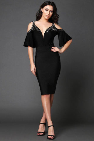 Beaded Off Shoulder Bodycon Dress