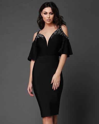 Beaded Off Shoulder Bodycon Dress - Jezzelle