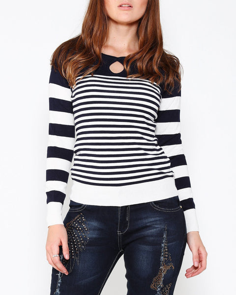 Navy White Cold Shoulder Pullover - Jezzelle