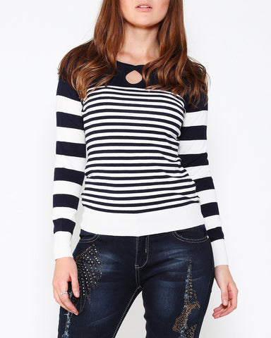 Navy & White Nautical Open Shoulder Pullover