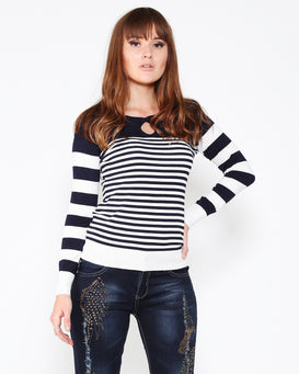 Navy White Cold Shoulder Pullover-Jezzelle