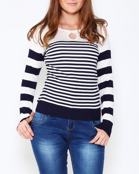 White Navy Cold Shoulder Pullover-Jezzelle