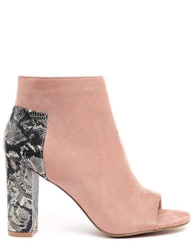 Snakeskin And Suede Peep Toe Ankle Boots