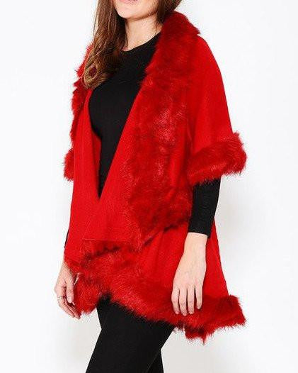 Faux Fur Trim Red Cape - Jezzelle