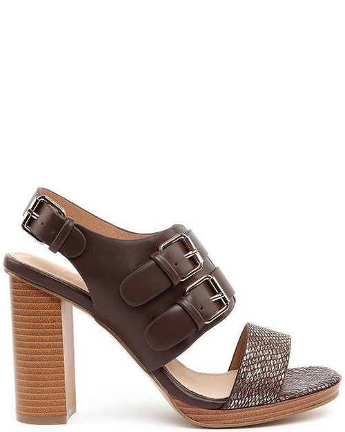 Block Heel Coffee Sandals - Jezzelle