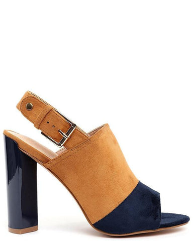 Yellow and Navy Suede Peep-toe Booties - Jezzelle