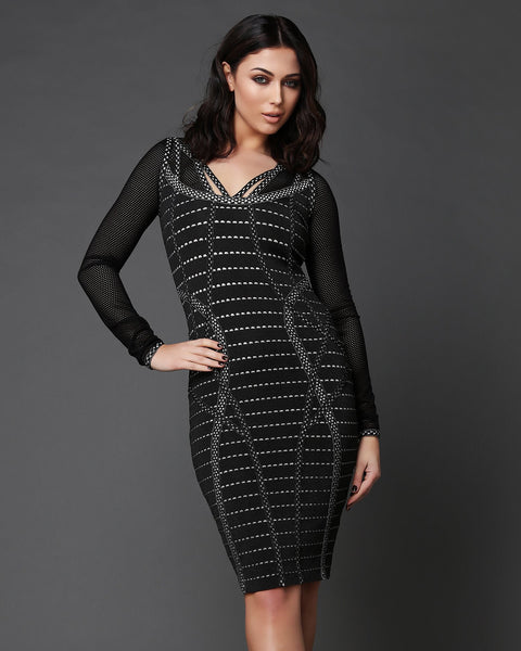 Laser Cut Details Bandage Dress-Jezzelle