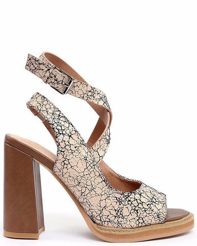 Cracked Leather Effect Block Heel Sandals