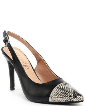 Black Slingback Pumps - Jezzelle