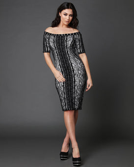 Monochrome Soft Knitted Dress-Jezzelle