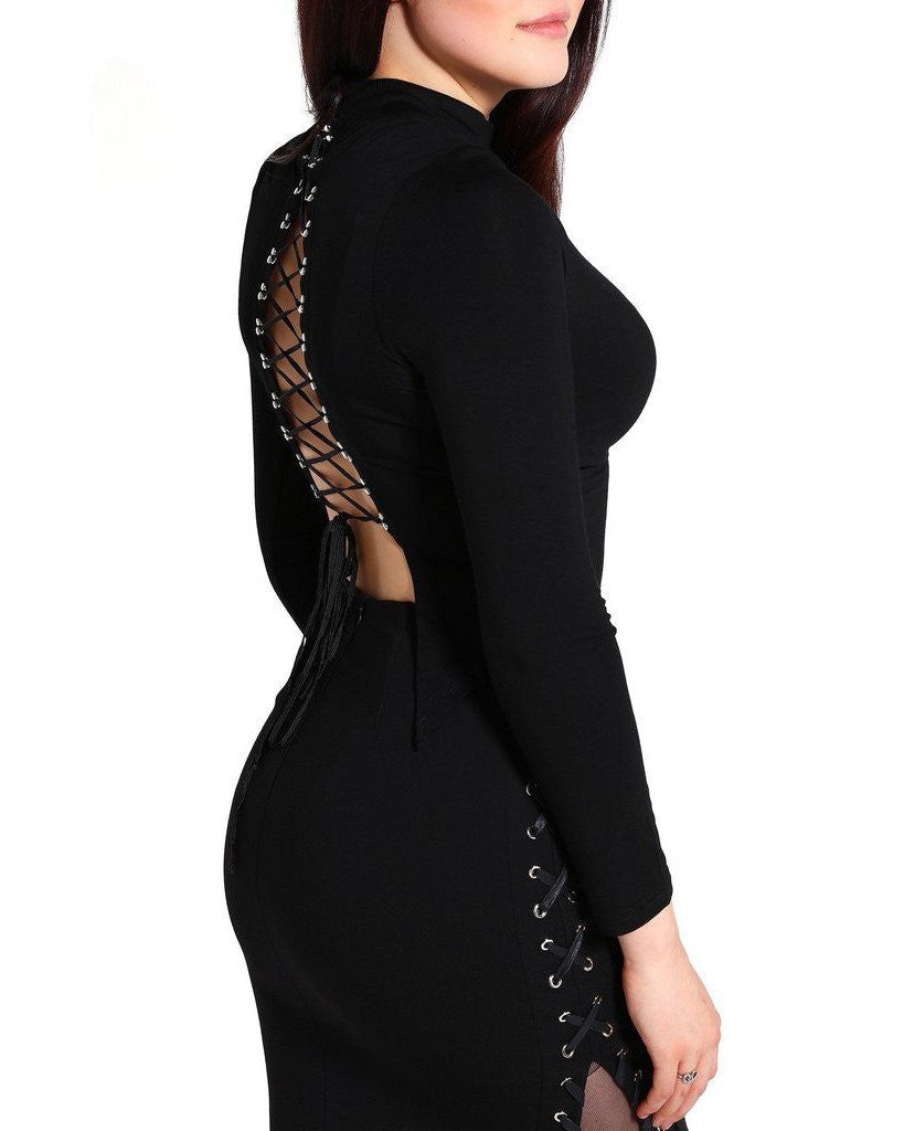 Lace-Up Bare Back Top-Jezzelle