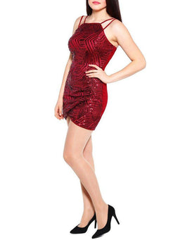 Sequinned Double Strap Wrap Dress-Jezzelle
