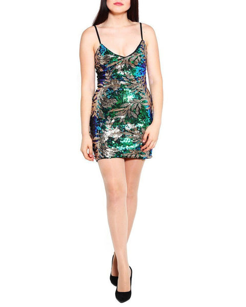 Leaf Patterned Sequin Cami Dress-Jezzelle