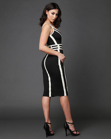Contrast Details Bodycon Dress - Jezzelle