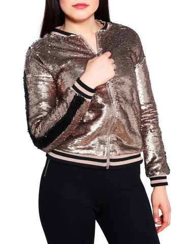 Gold Sequins Bomber Jacket - Jezzelle