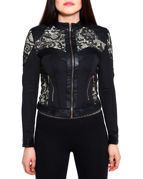 Lace Faux Leather Jacket-Jezzelle