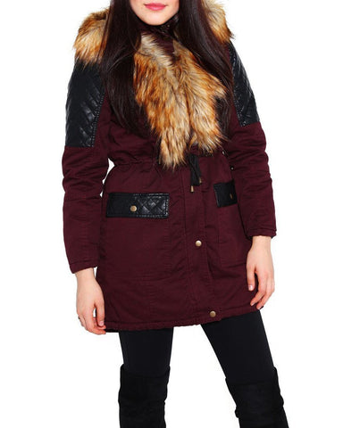 Faux Fur Collar Hooded Quilted PU Detail Parka - Jezzelle