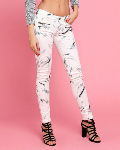 Marble Print Skinny Jeans - Jezzelle