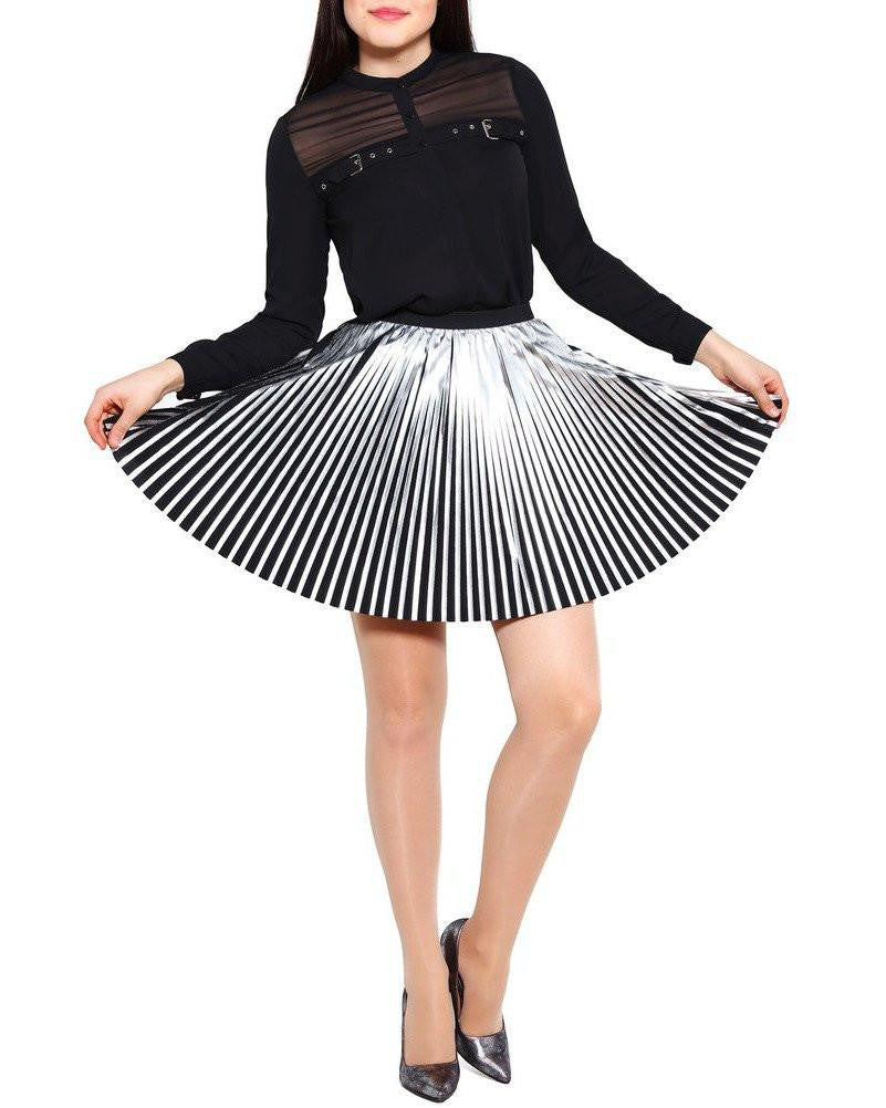 Silver Faux Leather Pleated Skirt-Jezzelle