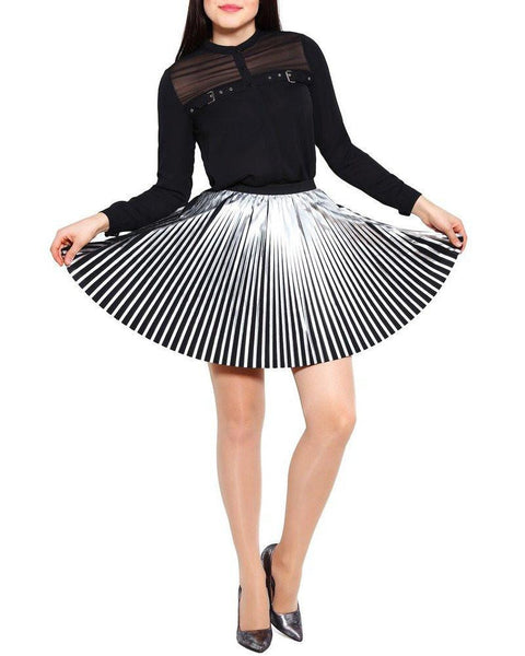Silver Faux Leather Pleated Skirt - Jezzelle