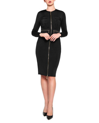 Black Zipper Midi Dress-Jezzelle