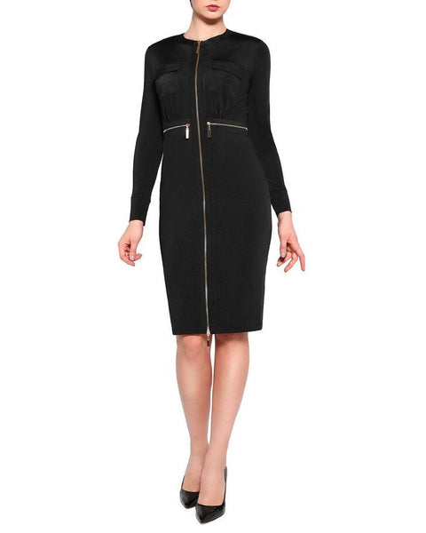 Black Zipper Midi Dress - Jezzelle