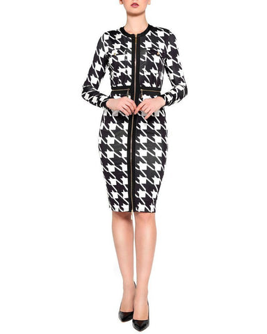 Dogtooth Print Zipper Midi Dress-Jezzelle