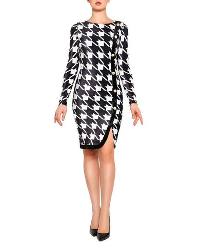 Dogtooth Buttons Bodycon Dress - Jezzelle