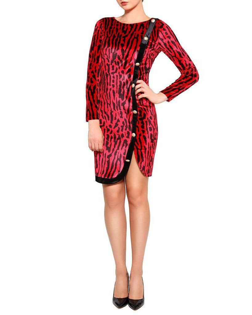 Button Side Red Leopard Print Bodycon Dress-Jezzelle