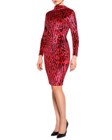Red Leopard Velvet Dress - Jezzelle
